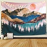 Dremisland Coucher du Soleil Tapisserie Murale Forêt Arbre Tapisserie Montagne Tenture Murale Psychédélique Nature Paysage Tapestry Décoration pour Chambre Salon (Coloré, L/148cm x 200cm)