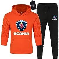 xiaosu Uomo Tinta Unita Set di Tute Sc.A-Nia.s Jogging Giacca con Cappuccio + Pantaloni Casuale/arancia/M