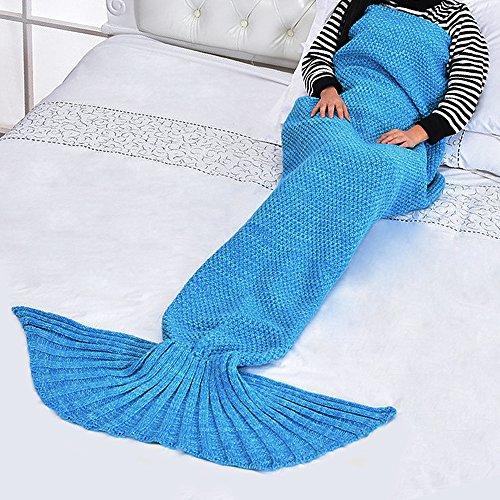 eodo Meerjungfrau Schwanz Decke, handgefertigt Sofa, Wrap Schlafsack, Hohe Dichte, weich und warm Blue(adult)