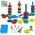 GIOBABY Brettspiel Spielzeug,Pädagogisches Kinderspiele mit Farbkarte und Magnetisches Ring,Match-Spiel für Kinder,Partyspiel