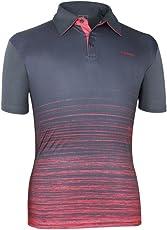 Head HCD-291 Cotton Tennis T-Shirt, Medium (Charcoal/Red)