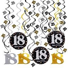 Idea Regalo - JNCH Ghirlande 18 Anni Compleanno Appendere Spirale Turbinanti Decorazioni Striscione Bandiere Happy Birthday 18 Anni + Coriandoli da Tavolo per Cerimonia Decorazioni Buon Compleanno
