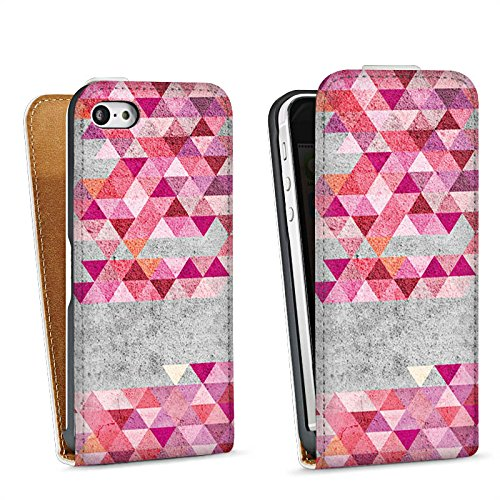 Apple iPhone 5s Housse étui coque protection Triangles Triangles Triangles Sac Downflip blanc