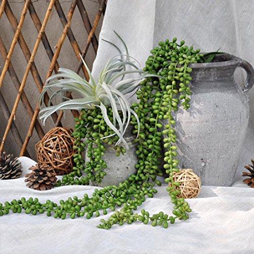 justoyou - pianta grassa artificiale, colore verde, larga 32 cm, sembra vera al tatto, per ambienti interni ed esterni, ideale per decorare il giardino o il bagno pearls