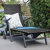 Vanage Sonnenliege mit Polyrattan Optik in schwarz - Gartenliege mit 2 Rädern - Liegestuhl ist klappbar - Gartenmöbel - Strandliege aus Aluminium - Relaxliege für den Garten, Terrasse und Balkon - 7