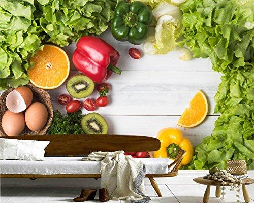 WH-PORP Vegetables Pepper Kiwi Food Photo 3D tapete,Living Room Sofa Tv Wall Paper-350cmX245cm