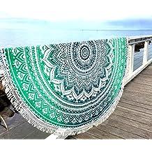 Aakriti Gallery Toalla de playa redonda, estilo mandala indio, algodón, esterilla de yoga