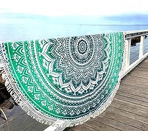 Überwurf, Strandtuch, Yogamatte, indisches Mandala, rund, Baumwolle, Tischdecke Strandtuch, runde Yogamatte, Schal, 182,9cm Strand Freizeit, Picknick grün