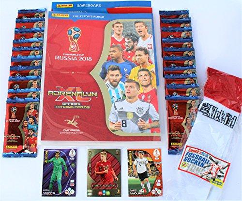 Panini Adrenalyn XL FIFA World Cup 2018 Sammelmappe + 20 Booster + limited Edition De Bruyne + 2 x...