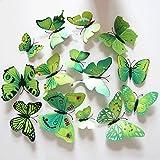 3D Schmetterlinge Blumen 12er Set Dekoration Wandtattoo (Alive (grün))