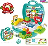 #5: Kids Choice Cashier Center Supermarket Cash Register Play Set Suitcase - Mini market Toys with Scanner & Calculator, Currency Note, Cards, Groceries