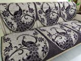 Griiham Premium Quality Anti-Skid Jacquard Sofa Cover Royal Peacock Design Wine and Black