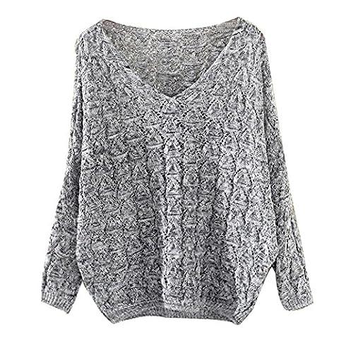 Sannysis Damen Sweater Elegant Langarm Oversize Sweatshirt Strickpullover Bat Ärmel Pullover (Grau)