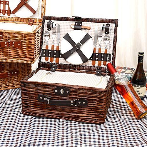 YiYaa Handgefertigt Rechteckig Picknickkorb Aus Wicker,Hochwertiger Weidenkorb,Picknickset Pastoral RattanStorage Basket Picnic Basket ,Obst Steak Gemüsekorb