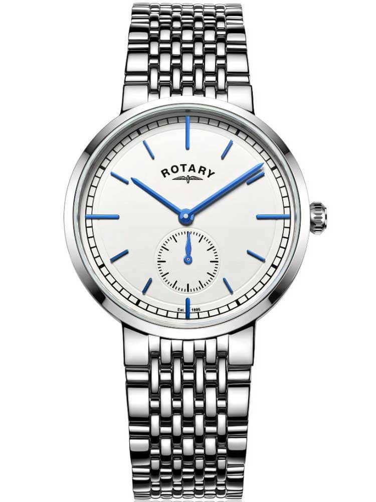 Gents Mens Stainless Steel Quartz Battery Rotary Canterbury Watch on Bracelet GB05060/02