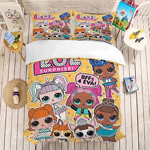 bed linings Cartoon Puppe Bettbezug Sets 3D Druck 3 Stück Set Bettwäsche 100% Mikrofaser Für Geschenke (1 Bettbezug + 2 Kissenbezüge) D-King(259x229cm) -
