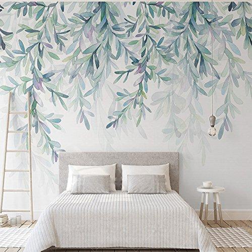 Weaeo Benutzerdefinierte Fototapeten Moderne Grüne Blätter Aquarell Im Nordischen Stil Wandbild Tapete Wohnzimmer Schlafzimmer 3 D Fresko Home Decor-350 X 250 Cm.
