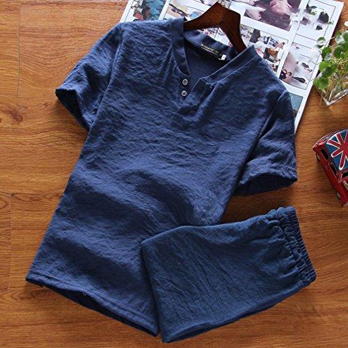 WLM Men's Casual Anzug Baumwolle Leinen Herrenmode Cool Kurzarm Cropped Hosen,EIN,M -