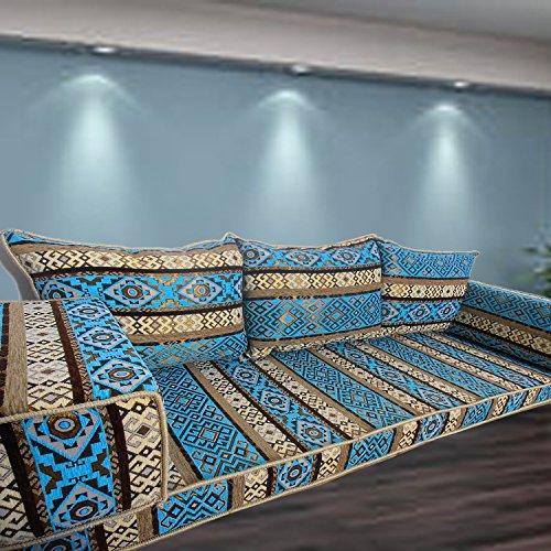 Boden-Couch arabische Stil Bodenmöbel, orientalische sitzecke, handgefertigte Boden Sofa-Set, arabische Majlis, arabische Jalsa, Boden Sitzcouch, Boden Kissen, orientalischen Boden Sitzgelegenheiten, Hookah Bar Möbel, Wohnzimmer Dekoration, Kelims Sofa-Set (Wohnzimmer-sofa-möbel-sets)
