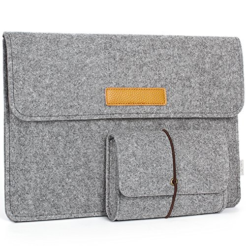 JSVER 13,3 Zoll MacBook Sleeve Laptophülle für MacBook Air/Pro Retina 12,9 Zoll iPad Pro Filz Sleeve Hülle Laptop Ultrabook Notebook Tasche, Graull