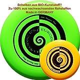 1+1 BIO Kunststoff Frisbee Eurodisc 175g 4.0 Ultimate Frisbee Disc Strudel GRÜN+GELB!!