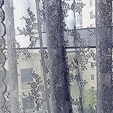 Moginp Vorhänge, Curtain Gardinen Blume Sheer Vorhang Tulle Fensterbehandlung Voile Drape Volant 1 Panel Fabric (Grau)