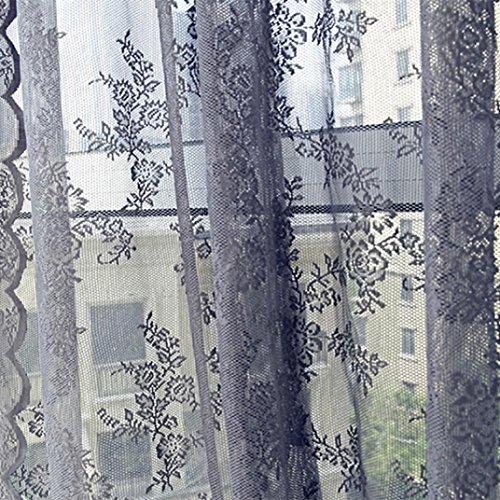 Vorhänge, Curtain Gardinen Blume Sheer Vorhang Tulle Fensterbehandlung Voile Drape Volant 1 Panel Fabric Moginp (grau) -