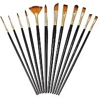 12 Pièces Pinceaux Peinture Acrylique, Pinceaux de Peinture Sets en Nylon pour Brosses à l'huile, Gouache, Aquarelle…