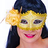 German Trendseller® - 4 x masque vénitien en dentelle┃ or┃ avec rose or┃ de luxe ┃carnaval ┃déguisement┃ bal masqué
