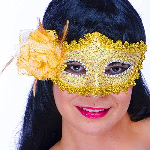 German-Trendseller ® - Venezianische Damen Maske + Spitze ┃ Gold ┃ inkl. Rose Deluxe ┃ Karneval / Fasching