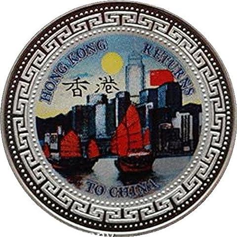Hong Kong Revient au Chine 1997Argent Proof One Trade Dollar deux pièce de monnaie de (Velluto Coin Set)