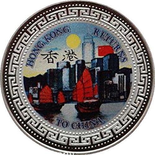Hong Kong Returns to China 1997Silver prova One Trade Dollar due set di monete scatola (Velluto Coin Set)