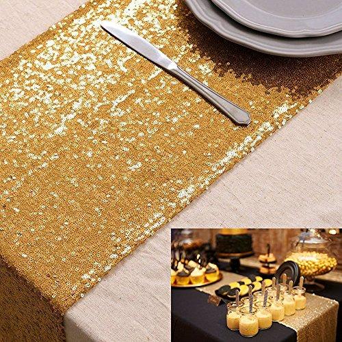 tabelle läuferin gold pailletten tischdecken champagner für party event dinner 12x72inch Schöne Gold Party Stoff Pailletten Tischläufer für Hochzeit und Event 30cmx275cm (Grün-aisle Runner)