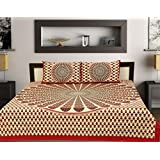 Rhf 100% Cotton Double Bed Sheet / Bed Cover For Royal Home (1 Double Beds Heet With 2 Pillow Cover) (Red Multi)