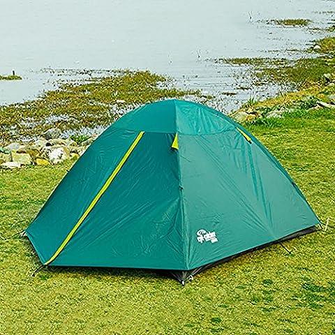 3-4 Tenda Persone esterna della tenda di attrezzature da campeggio antivento pioggia Tenda Double Layer famiglia (L * W * H): (70 + 200) * 200 *