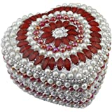 "Indian Jewelry Gift Box Red- Handmade Heart Metal And Beaded Decorative Box For Jewelry -4"" X 4"" X 2"""