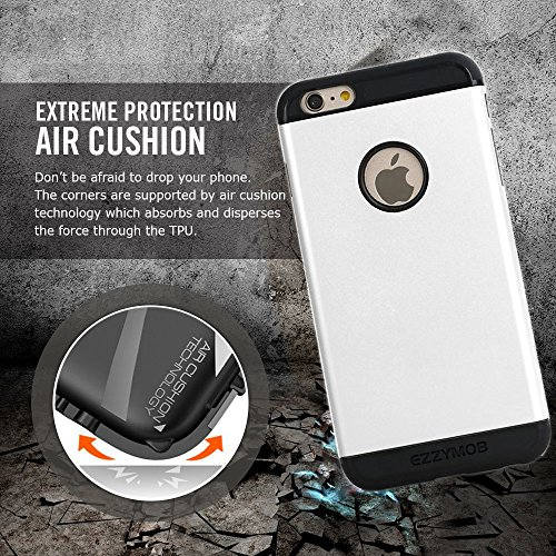 Coque pour iPhone 6et iPhone 6Plus Coque, Ezzymob® Heavy Duty, Etui ultra fin hybride, résistant aux chocs en caoutchouc TPU et coque en polycarbonate pour Apple iPhone 6/6s et Apple iPhone 6Plus. iPhone 6 Plus (5.5-inches) White