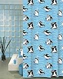 Wohnideenshop Duschvorhang Pinguine 180cm breit x 200cm lang Textil + Ringe