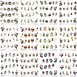 10X 12 Bögen Onestroke Nagelsticker Nailsticker Weihnachten Christmas Sticker mehrfarbig
