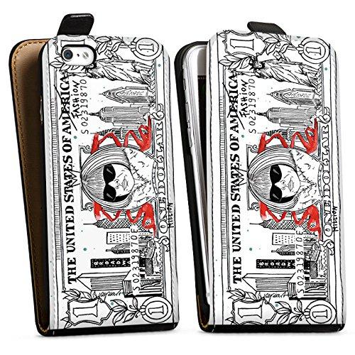 Apple iPhone X Silikon Hülle Case Schutzhülle Geld Dollar Geldschein Downflip Tasche schwarz