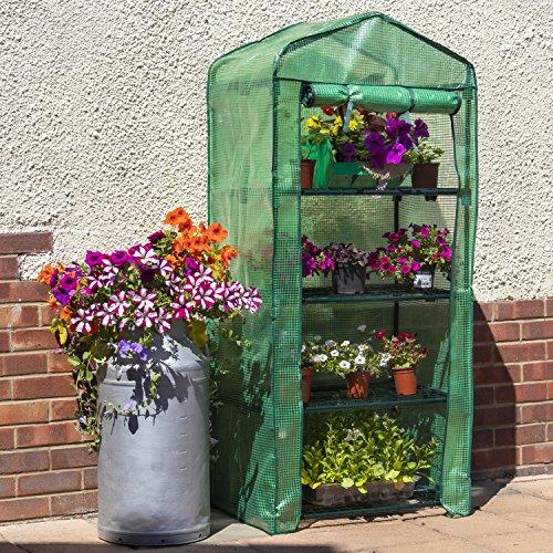 Woodside - Gewächshaus für den Garten - mit verstärkter Folie - 4 Einlegeböden