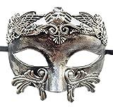 Uomini mascherata Maschere Romano Greco Festa Maschera Mardi gras Halloween Maschere (Antique argento nero)