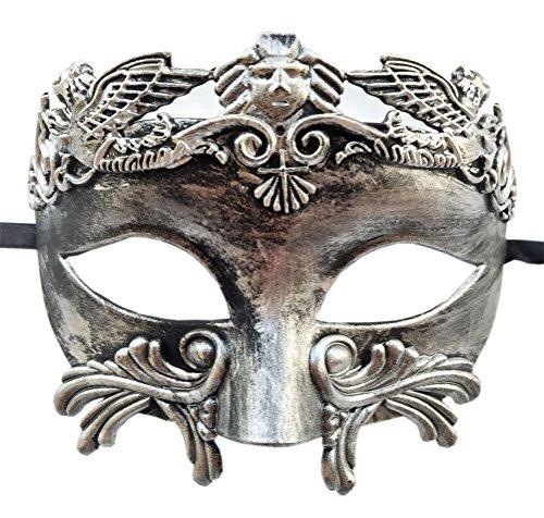 Flywife Herren Maskerade Maske Römisch Griechisch Party Maske Mardi Gras Halloween Maske (Antik Silber ()