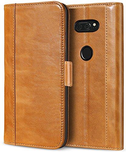 ProCase LG V30 V35 Echtes Leder Hülle, ProCase Falten Flip Case mit Kickstand und mehrere Kartensteckplätze Magnetverschluss Schutzhülle für LG V30 V35/ LG V30 Plus/LG V30S ThinQ/ V35 ThinQ -Braun