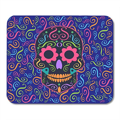 Deglogse Gaming-Mauspad-Matte, Celebration Candy Skull with Flower Eyes Sugar Collection Mouse Pad Flower Sugar Collection