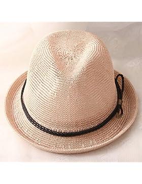 LVLIDAN Sombrero para el sol del verano Lady Anti-Sol Playa sombrero de paja estilo británico rosa