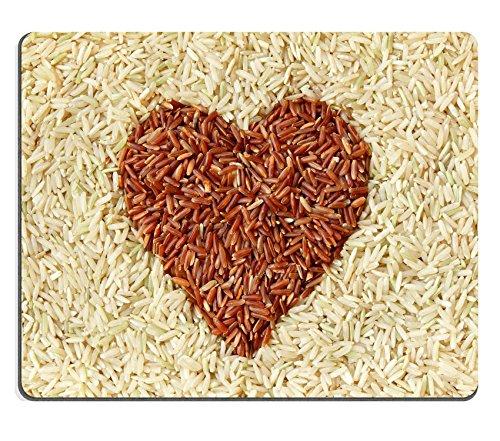 Liili alfombrilla de ratón alfombrilla de ratón de goma natural imagen ID: 12747828marrón arroz rojo y arroz con forma de corazón textura fondo