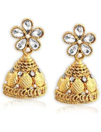 Spargz Floral Gold Plated AD Stone With Pearls Jhumki Earrings For Girls & Women AIER 672
