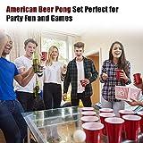 100x Beer Pong Becher Partybecher Set Plastikbecher Rot und Blau 473ml Bier Pong Cups mit Bällen, 16oZ für Getränke Party Camping Cocktail Bier Neues Jahr Weihnachten Geburtstag Festivals Hochzeit - 2