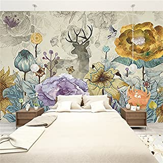 Large 3D Stereo Wallpaper Mural Line Sketch Tree Forest Elk Bedroom TV Background Wall